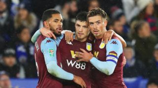 Douglas Luiz, Frederic Guilbert, Jack Grealish, Aston Villa at Leicester City, Carabao Cup 2019-20