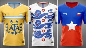 Camisetas selecciones basadas en logos