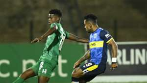 Sandile Khumalo of AmaZulu FC is challenged by Kermit Erasmus of Cape Town City FC, October 2019
