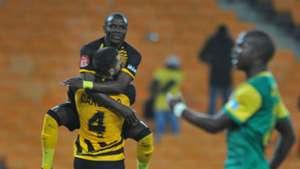 Daniel Cardoso of Kaizer Chiefs celebrates goal with Lazarous Kambole, October 1