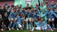 Man City team celebrate Carabao Cup final vs Tottenham 2020-21