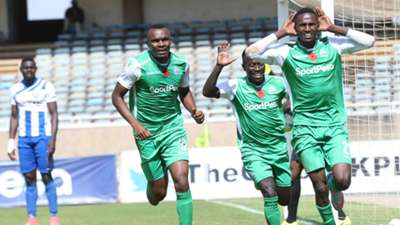 Gor Mahia striker Kenneth Muguna Jacques Tuyisenge and Boniface Omondi v AFC Leopards.