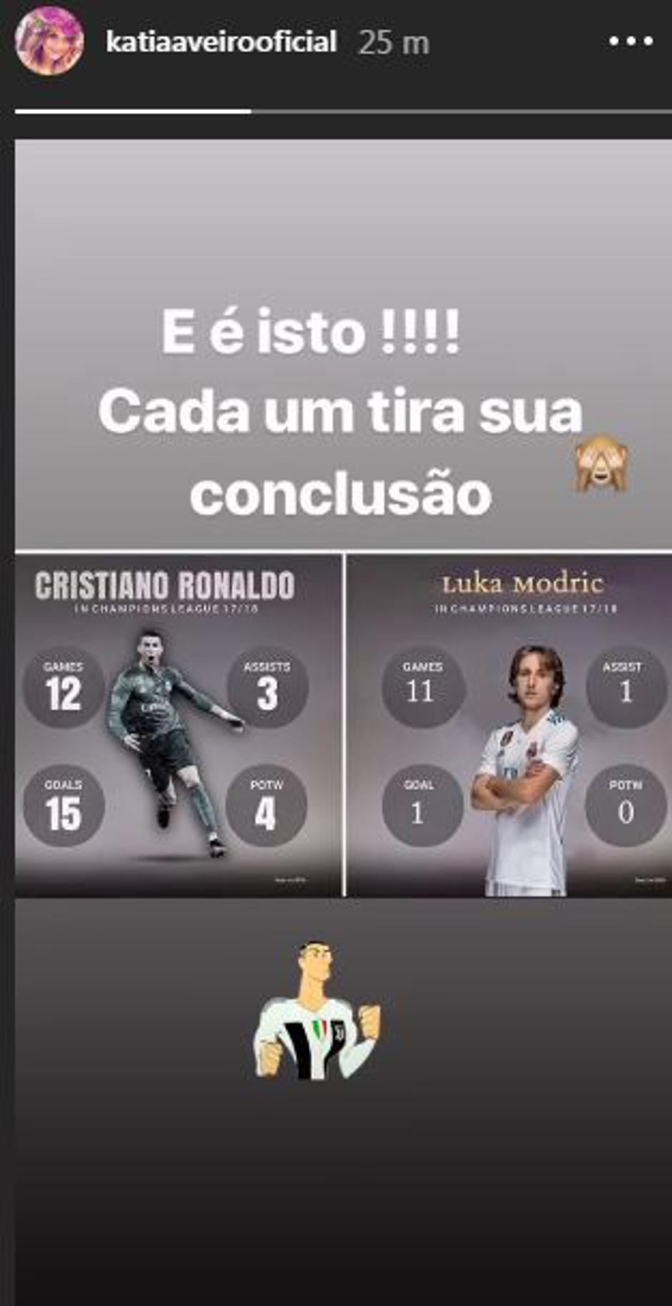 Katia  Aveiro instagram post ronaldo modric