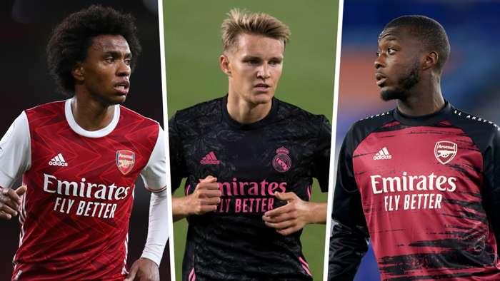 Willian Nicolas Pepe Martin Odegaard Arsenal Real Madrid GFX