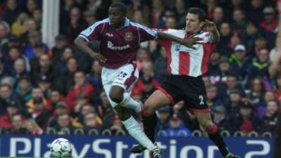 Kaba Diawara gets away from Jason Dodd of Southampton during the FA Carling Premiership match between Southampton v West Ham United at the Dell, Southampton