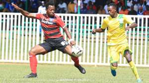ROBERT MUDENYU of AFC Leopards and PETER THIONGO of Kakamega Homeboyz.