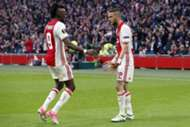 Bertrand Traore & Hakim Ziyech of Ajax during the UEFA Europa League semi-final match between Ajax Amsterdam and Olympique Lyonnais at the Amsterdam Arena on May 03, 2017 in Amsterdam