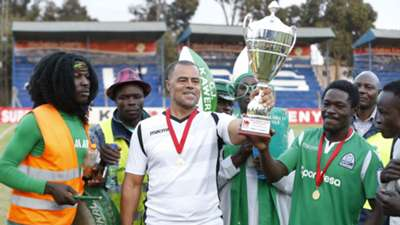 Gor Mahia coach Steven Polack and Lawrence Juma.