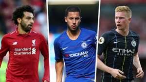Mohamed Salah, Eden Hazard, Kevin De Bruyne