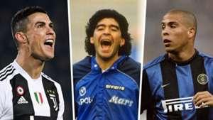Cristiano Ronaldo, Diego Maradona, Ronaldo Nazario
