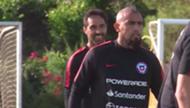 111019 Chile training Arturo Vidal Claudio Bravo