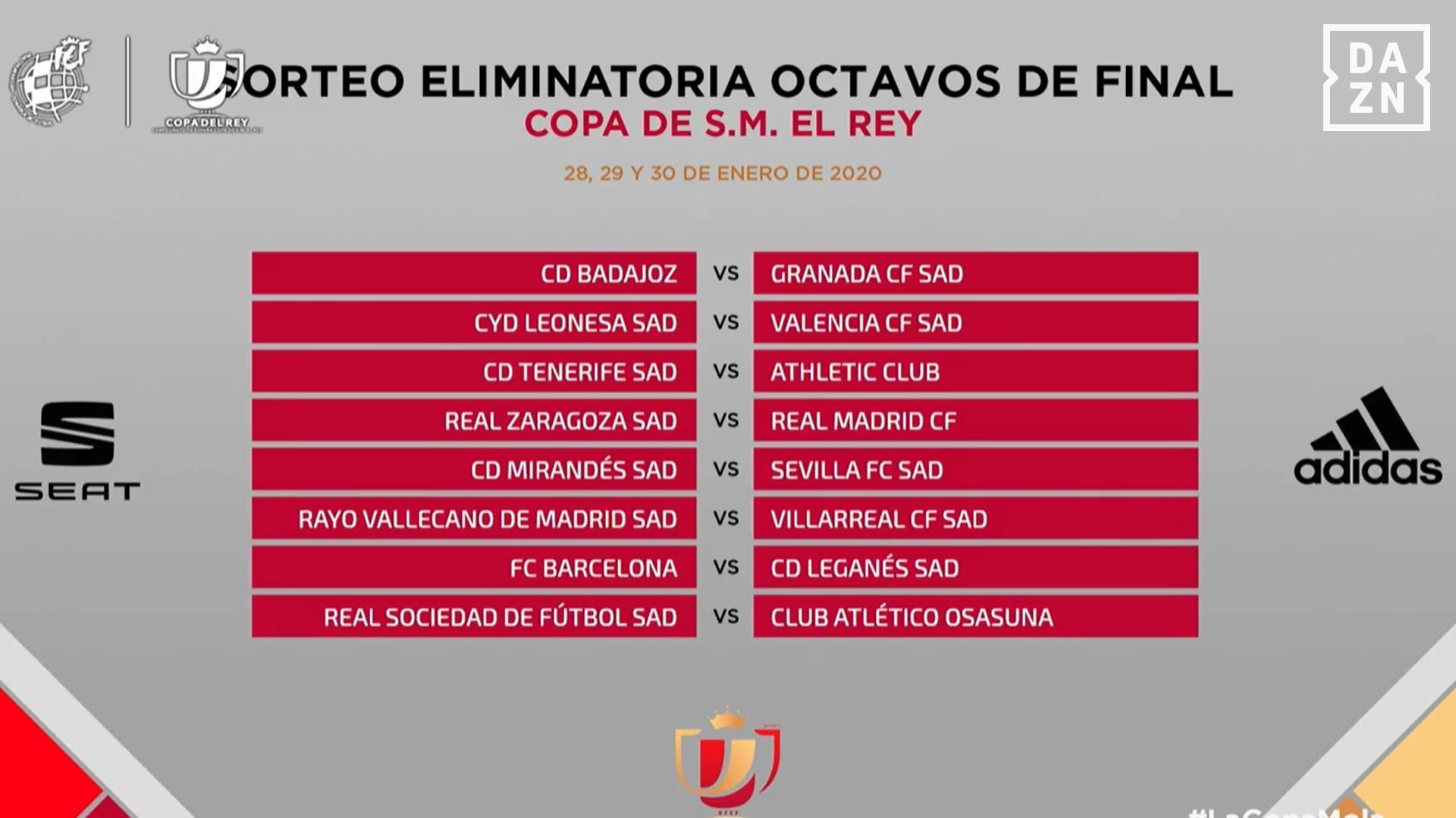 Así Quedan Los Emparejamientos De La Copa Del Rey Tras Su Sorteo De Octavos De Final Goal Com