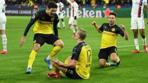 Dortmund celebrate Erling Haaland's first goal vs PSG