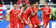 Serbia celebrating Serbia Switzerland Worl Cup Russia 2018 06222018