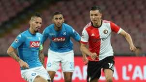 Marek Hamsik, Steven Berghuis, Faouzi Ghoulam, Napoli, Feyenoord, UEFA Champions League, 26092017