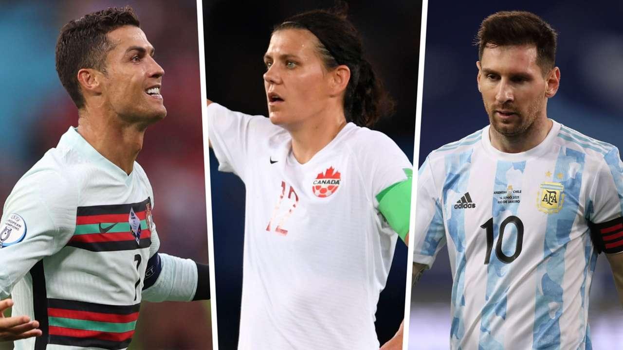 Cristiano Ronaldo Christine Sinclair Lionel Messi split
