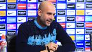 Pep Guardiola, manager of Manchester City speaks to the media during the press conference at Manchester City Football Academy on December 14, 2018 in Manchester, England