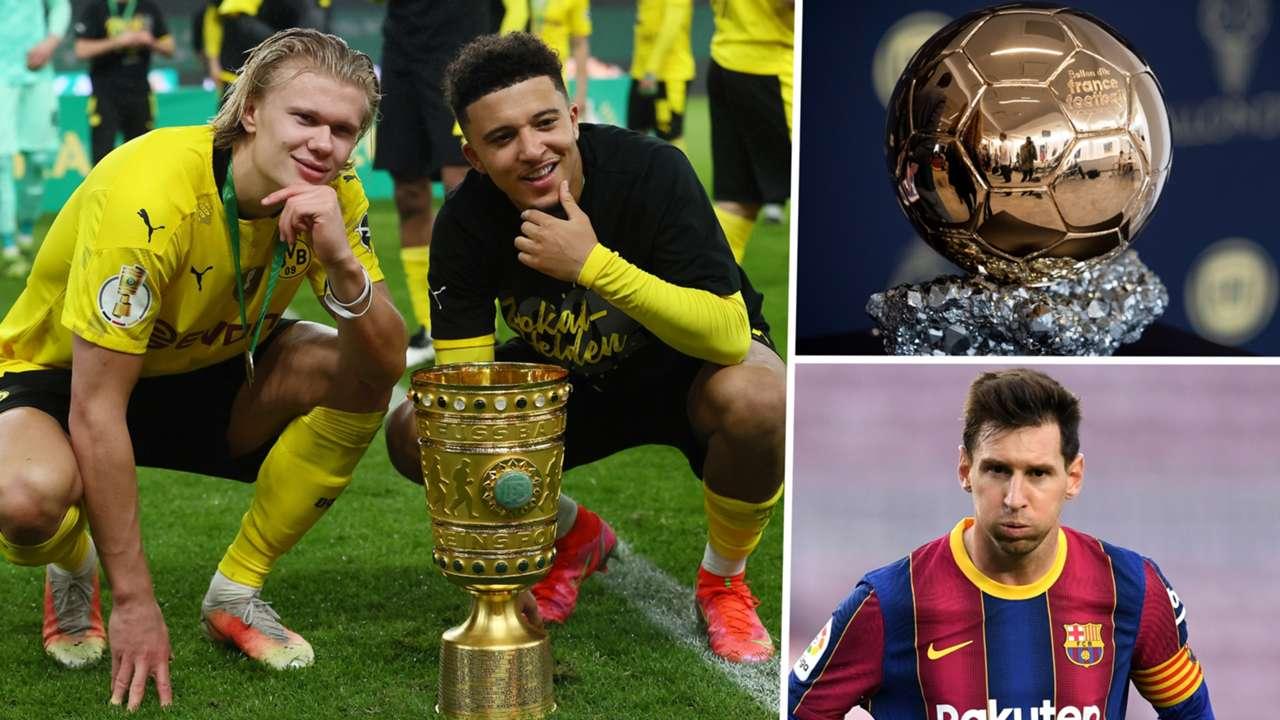 Haaland Sancho Messi Ballon d'Or GFX