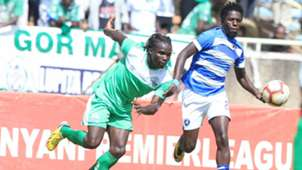 Gor Mahia defender Michael Apudo vs AFC Leopards.