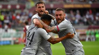 Roma celebrating Serie A