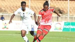 GLADYS AMFOBEA of Ghana vs JANET KUNDU of Kenya and Harambee Starlets.