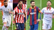 Benzema Real Madrid Luis Suarez Atletico Madrid Messi Barcelona Ocampos Sevilla