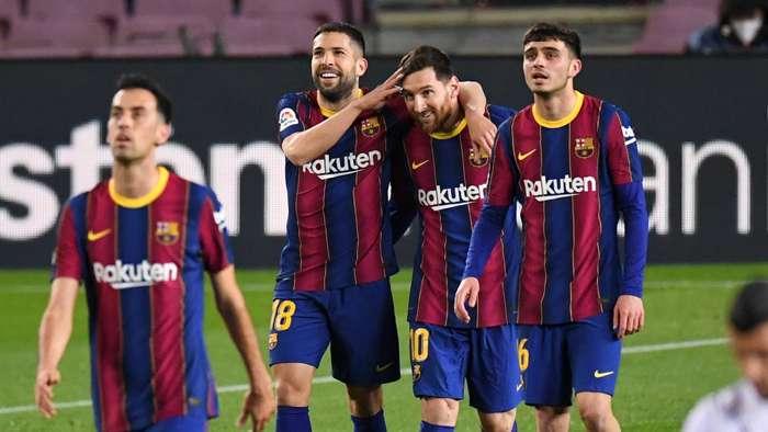 Barcelona celebrate Lionel Messi goal vs Huesca, La Liga 2020-21
