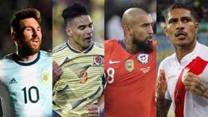 Lionel Messi Radamel Falcao Arturo Vidal Paolo Guerrero Argentina Colombia Chile Peru 2019