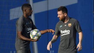 Ousmane Dembele, Lionel Messi training