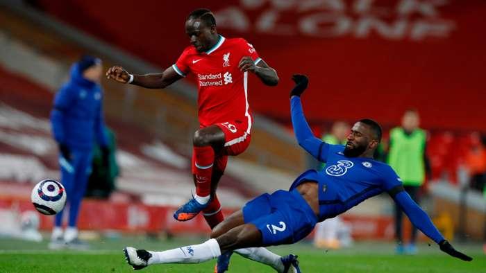 Sadio Mane Antonio Rudiger Liverpool Chelsea 2020-21
