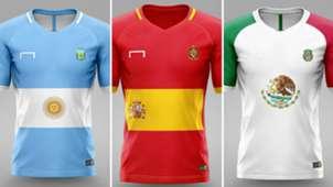 Uniforme selecciones bandera Argentina España México