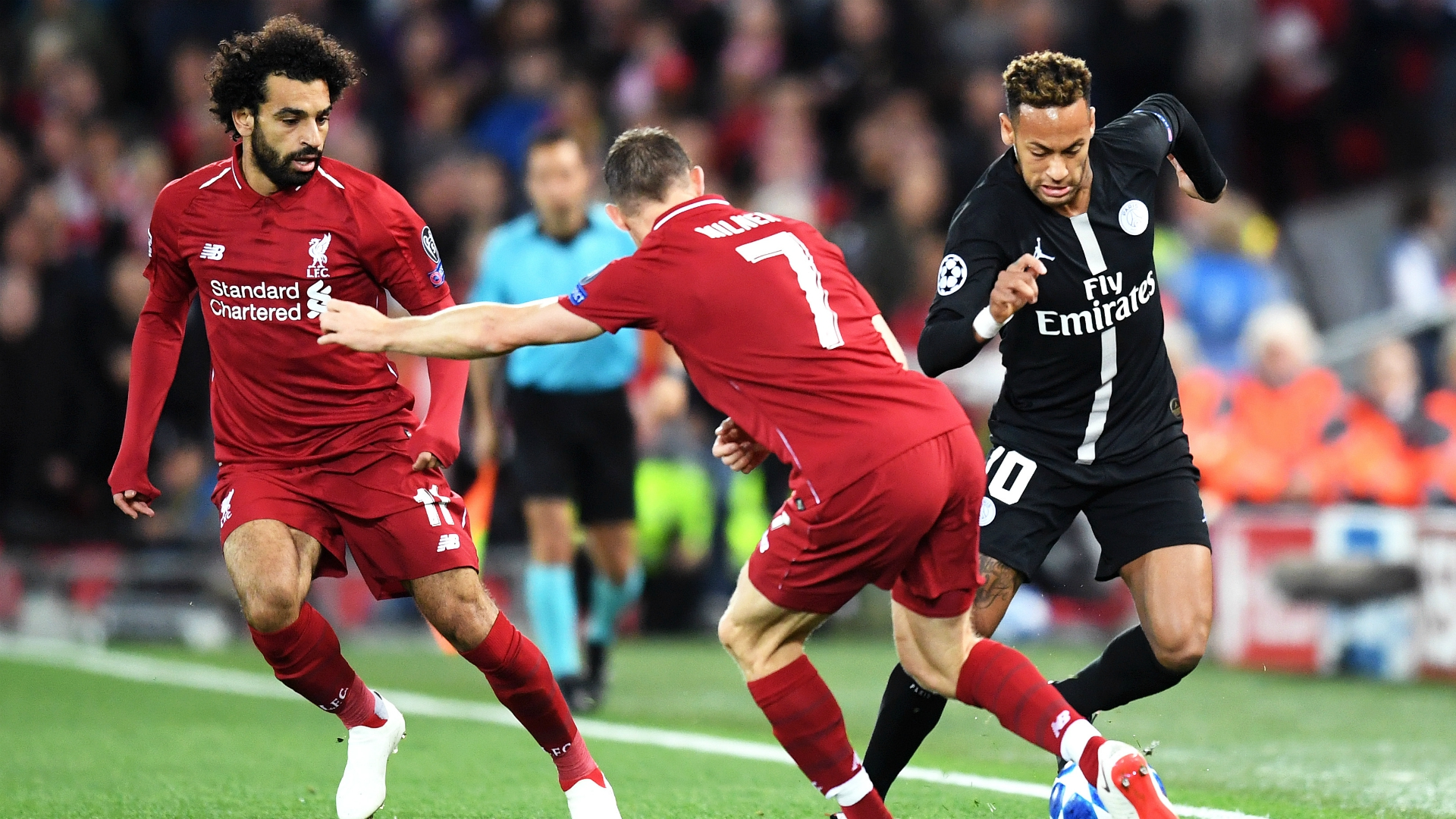 Neymar James Milner Mohamed Salah Liverpool PSG UEFA Champions League 09182018