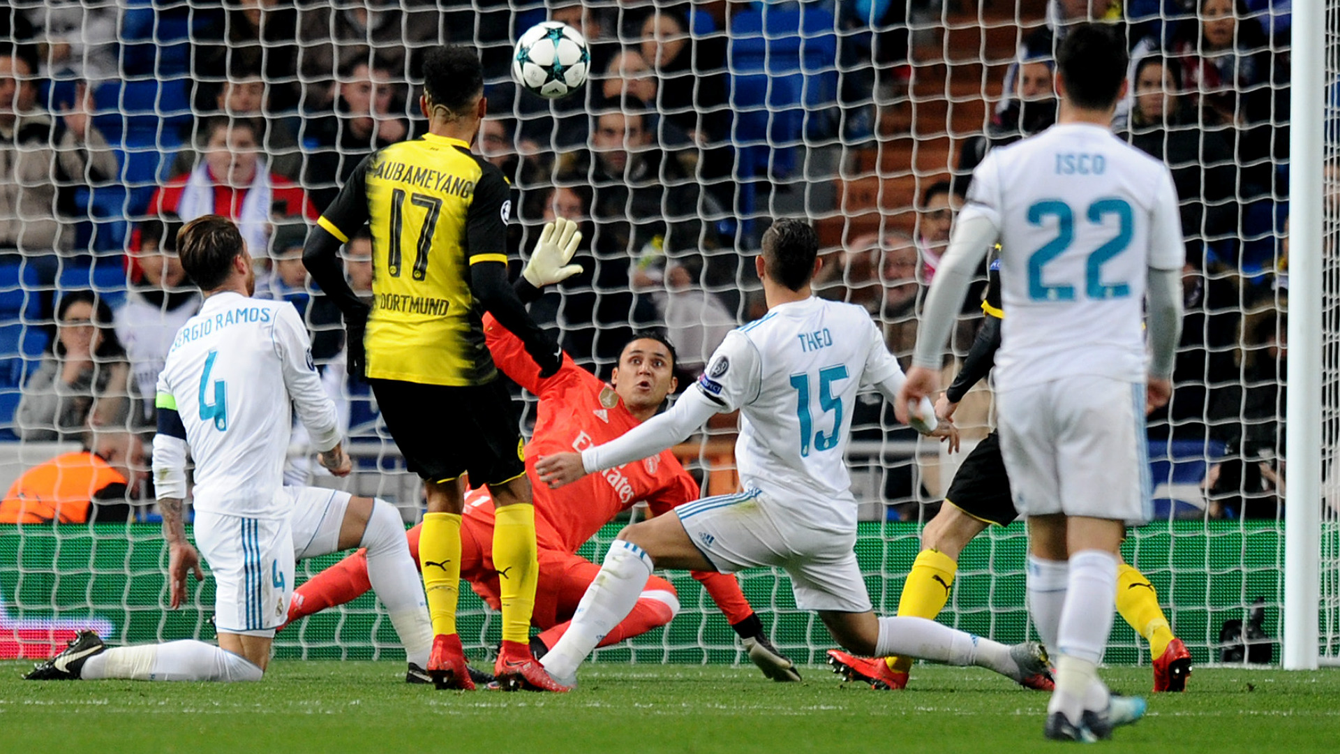 Aubameyang Keylor Navas Real Madrid Borussia Dortmund UEFA Champions League