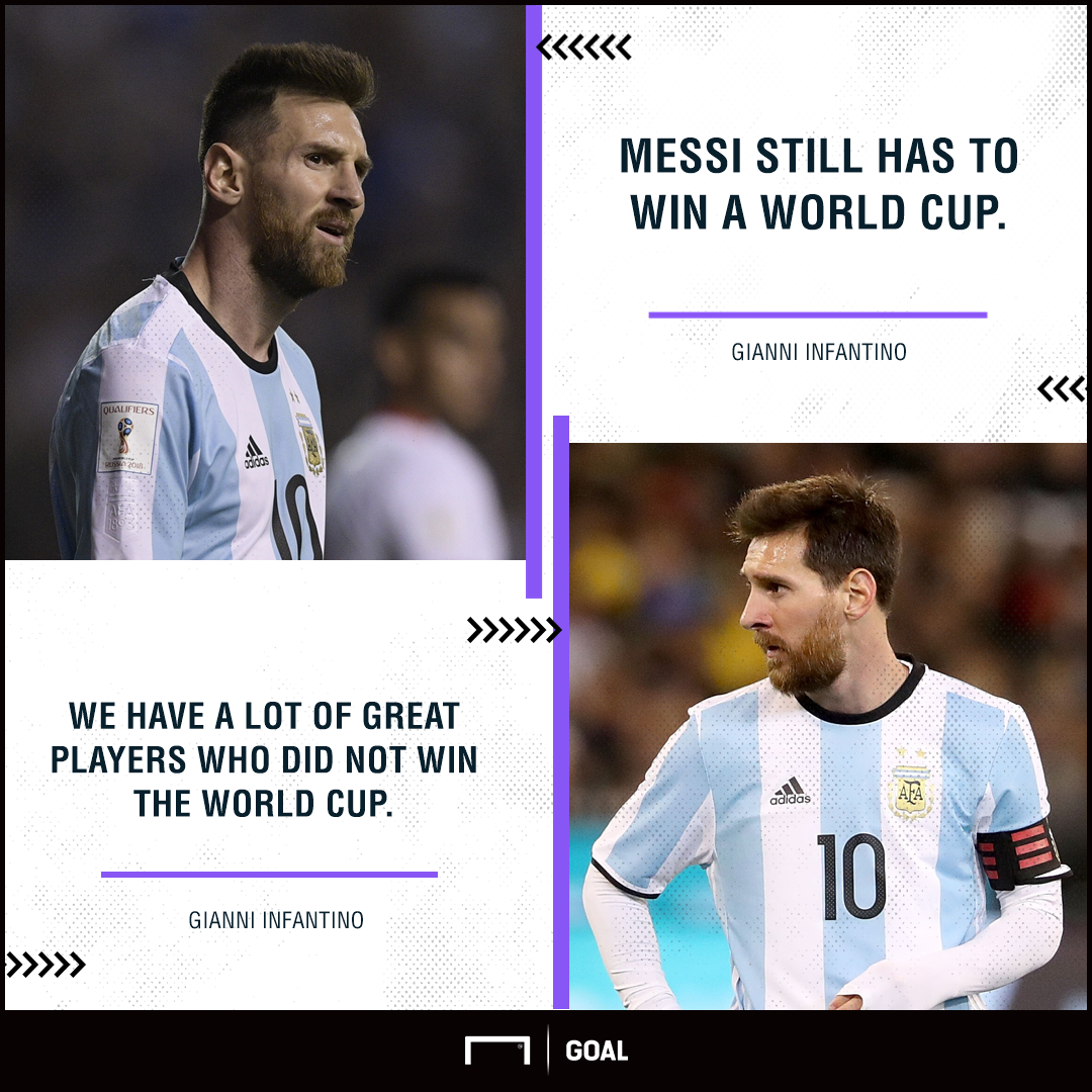 Lionel Messi Gianni Infantino has to win World Cup