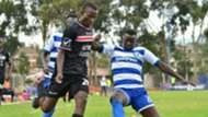 Duncan Otieno of AFC Leopards against Nzoia Sugar player