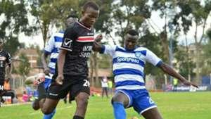 Duncan Otieno of AFC Leopards against Nzoia Sugar player