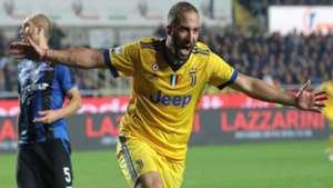 Gonzalo Higuain celebrates goal Atalanta Juventus