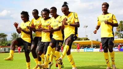 Tusker FC players celebrate vs Ulinzi Stars.