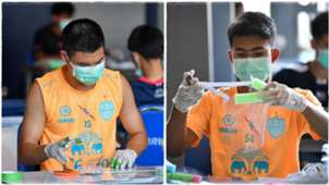 Buriram United players with their protective masks