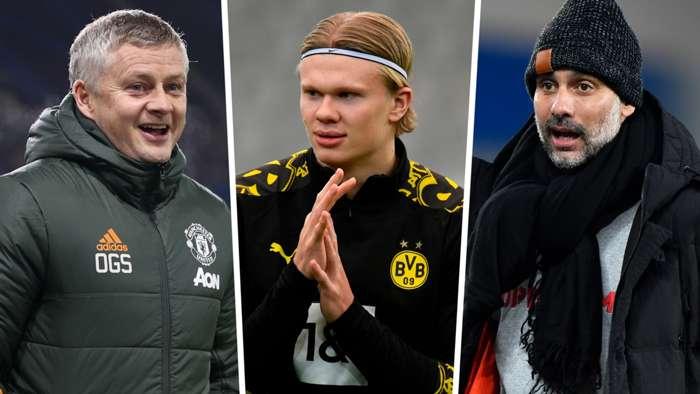 Ole Gunnar Solskjaer Erling Haaland Pep Guardiola Man Utd Man City Dortmund GFX