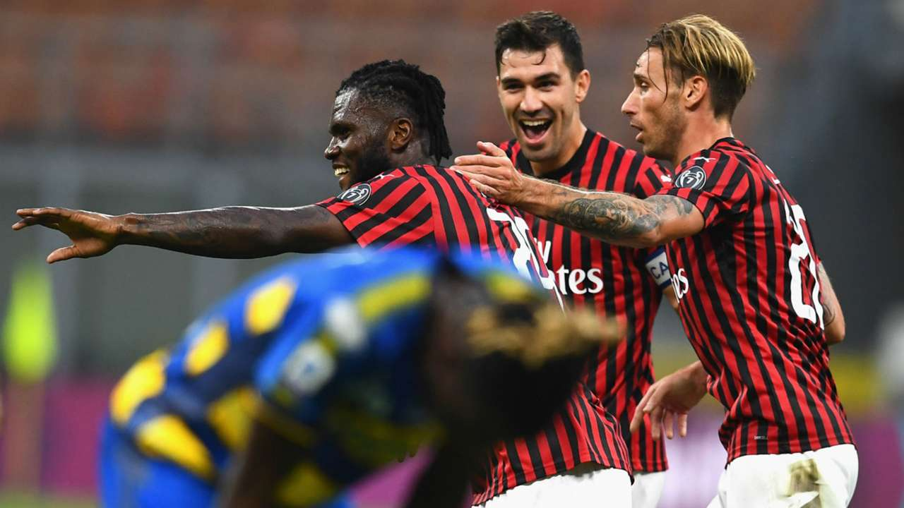 Romagnoli Kessie celebrating Milan Parma