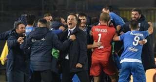 Empoli players celebrating Empoli Frosinone Serie B