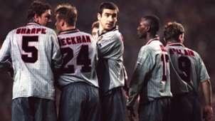 Lee Sharpe David Beckham Eric Cantona Andy Cole Brian McClair Manchester United 1996