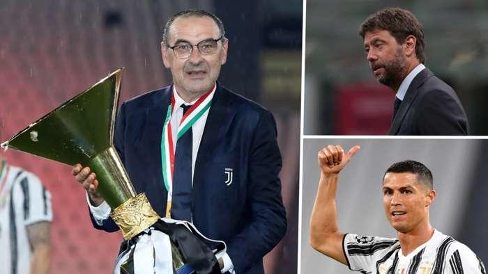 Maurizio Sarri Andrea Agnelli Cristiano Ronald Juventus 2019-20