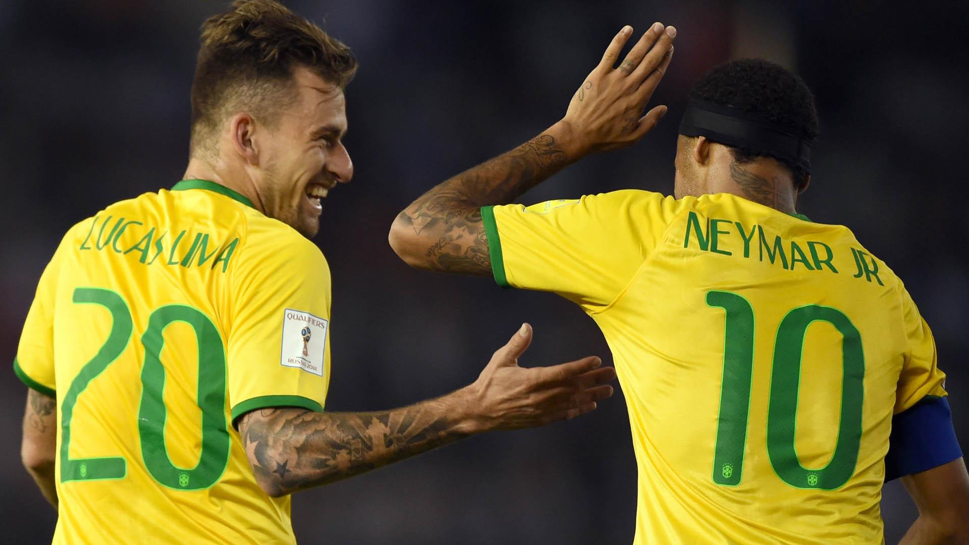 Neymar espera Lucas Lima de braços abertos no Barcelona