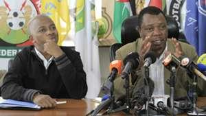 FKF President Nick Mwendwa and Nicholas Musonye (Cecafa)