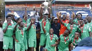 Gor Mahia players with KPL Super Cup trophy.