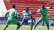 AFC Leopards captain Bernard Mangoli takes on Meddie Kagere and Goddfrey Walusimbi of Gor Mahia.