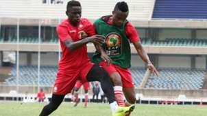Clifton Miheso and Eric Johanna of Harambee Stars v Kenya.