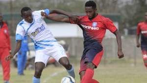 Stephen Waruru of Sofapaka v Moses Mburu of AFC Leopards.